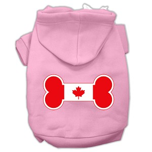 Bone Shaped Canadian Flag Screen Print Pet Hoodies Light Pink Size L (14)