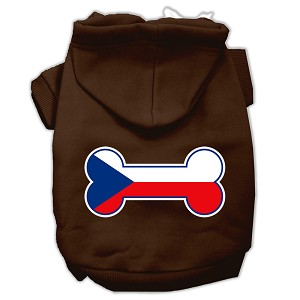 Bone Shaped Czech Republic Flag Screen Print Pet Hoodies Brown Size M (12)