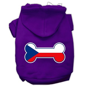 Bone Shaped Czech Republic Flag Screen Print Pet Hoodies Purple XXXL(20)