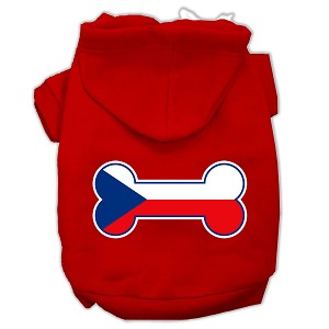 Bone Shaped Czech Republic Flag Screen Print Pet Hoodies Red M (12)