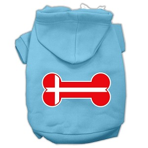 Bone Shaped Denmark Flag Screen Print Pet Hoodies Baby Blue S (10)