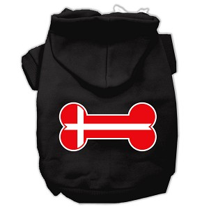 Bone Shaped Denmark Flag Screen Print Pet Hoodies Black XL (16)