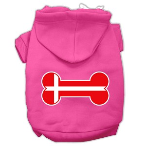 Bone Shaped Denmark Flag Screen Print Pet Hoodies Bright Pink Size M (12)