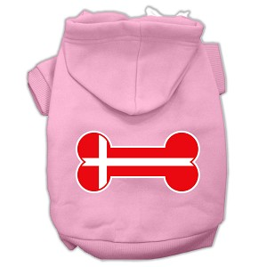 Bone Shaped Denmark Flag Screen Print Pet Hoodies Light Pink Size XL (16)