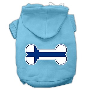 Bone Shaped Finland Flag Screen Print Pet Hoodies Baby Blue XL (16)