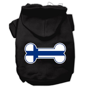 Bone Shaped Finland Flag Screen Print Pet Hoodies Black S (10)