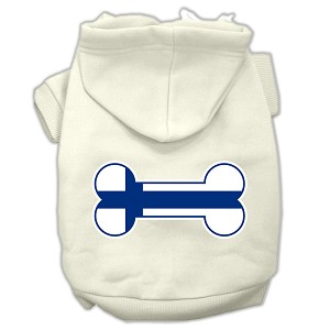Bone Shaped Finland Flag Screen Print Pet Hoodies Cream XS (8)