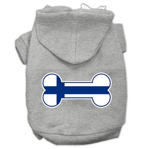 Bone Shaped Finland Flag Screen Print Pet Hoodies Grey M (12)