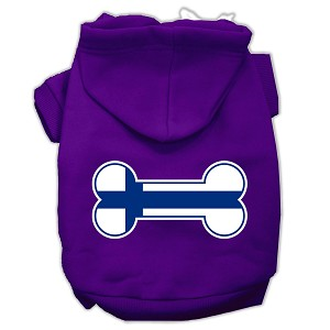 Bone Shaped Finland Flag Screen Print Pet Hoodies Purple S (10)