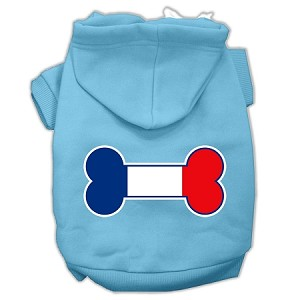 Bone Shaped France Flag Screen Print Pet Hoodies Baby Blue XXXL(20)
