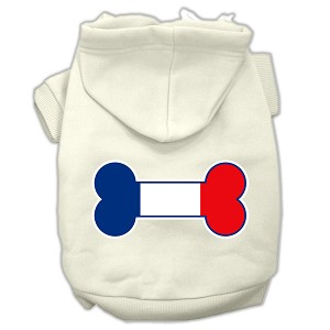 Bone Shaped France Flag Screen Print Pet Hoodies Cream Size XXXL(20)