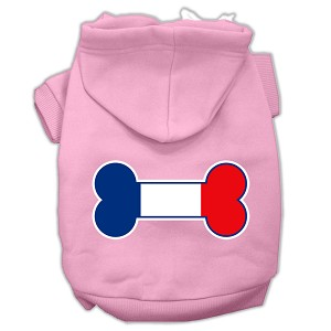 Bone Shaped France Flag Screen Print Pet Hoodies Light Pink Size XL (16)