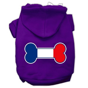 Bone Shaped France Flag Screen Print Pet Hoodies Purple Size XS (8)