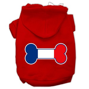 Bone Shaped France Flag Screen Print Pet Hoodies Red Size XXXL(20)