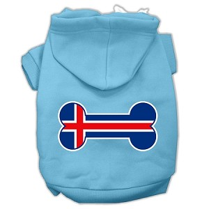 Bone Shaped Iceland Flag Screen Print Pet Hoodies Baby Blue S (10)