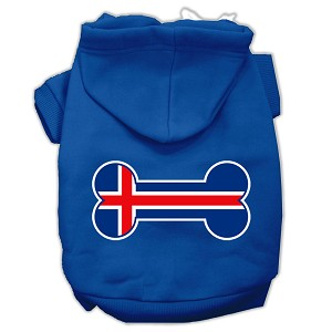 Bone Shaped Iceland Flag Screen Print Pet Hoodies Blue L (14)