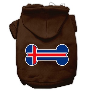 Bone Shaped Iceland Flag Screen Print Pet Hoodies Brown XS (8)