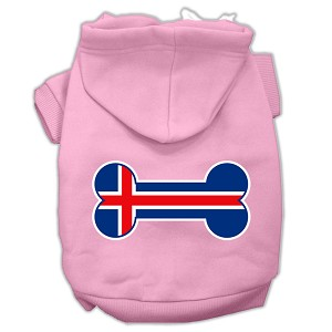 Bone Shaped Iceland Flag Screen Print Pet Hoodies Light Pink Size XXXL(20)
