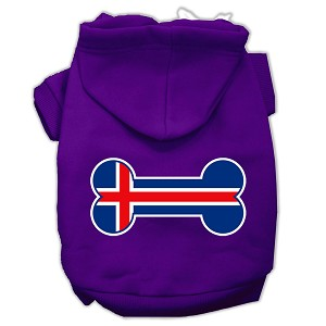 Bone Shaped Iceland Flag Screen Print Pet Hoodies Purple Size M (12)