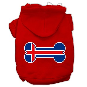 Bone Shaped Iceland Flag Screen Print Pet Hoodies Red Size XS (8)