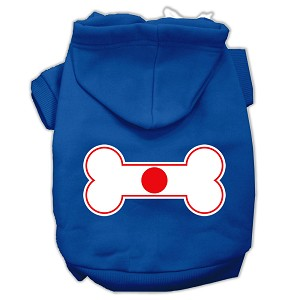 Bone Shaped Japan Flag Screen Print Pet Hoodies Blue XXXL(20)