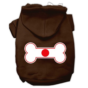 Bone Shaped Japan Flag Screen Print Pet Hoodies Brown S (10)