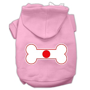 Bone Shaped Japan Flag Screen Print Pet Hoodies Light Pink Size XXL (18)
