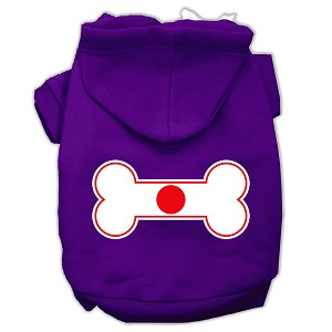Bone Shaped Japan Flag Screen Print Pet Hoodies Purple Size XXL (18)