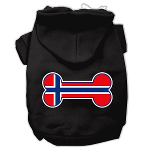 Bone Shaped Norway Flag Screen Print Pet Hoodies Black XXXL(20)