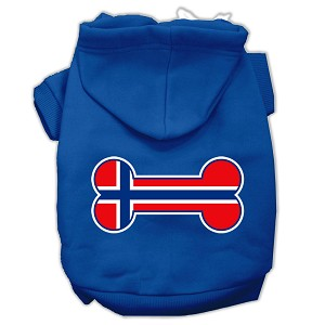 Bone Shaped Norway Flag Screen Print Pet Hoodies Blue XXXL(20)