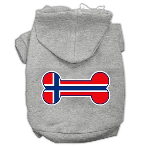 Bone Shaped Norway Flag Screen Print Pet Hoodies Grey L (14)