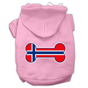 Bone Shaped Norway Flag Screen Print Pet Hoodies Light Pink Size M (12)