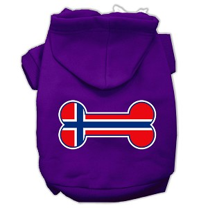 Bone Shaped Norway Flag Screen Print Pet Hoodies Purple Size L (14)