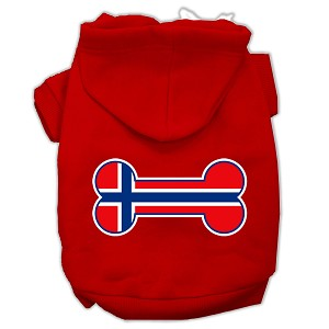 Bone Shaped Norway Flag Screen Print Pet Hoodies Red Size XXL (18)