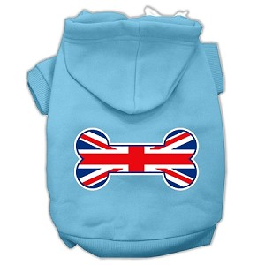 Bone Shaped United Kingdom (Union Jack) Flag Screen Print Pet Hoodies Baby Blue Size XXXL (20)