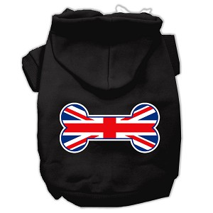 Bone Shaped United Kingdom (Union Jack) Flag Screen Print Pet Hoodies Black Size Sm (10)