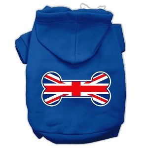 Bone Shaped United Kingdom (Union Jack) Flag Screen Print Pet Hoodies Blue Size XXL (18)