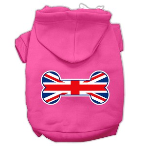 Bone Shaped United Kingdom (Union Jack) Flag Screen Print Pet Hoodies Bright Pink XS (8)