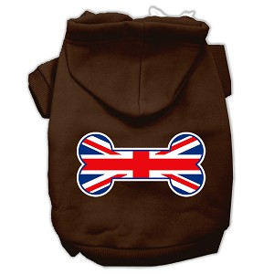 Bone Shaped United Kingdom (Union Jack) Flag Screen Print Pet Hoodies Brown Size XL (16)