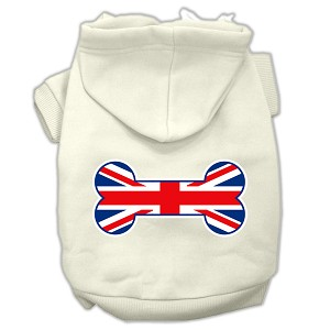 Bone Shaped United Kingdom (Union Jack) Flag Screen Print Pet Hoodies Cream Size M (12)