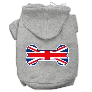 Bone Shaped United Kingdom (Union Jack) Flag Screen Print Pet Hoodies Grey XL (16)