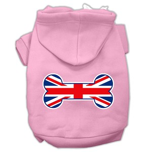 Bone Shaped United Kingdom (Union Jack) Flag Screen Print Pet Hoodies Light Pink Size S (10)