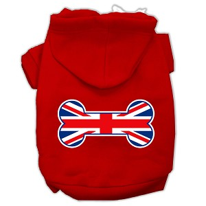 Bone Shaped United Kingdom (Union Jack) Flag Screen Print Pet Hoodies Red Size S (10)