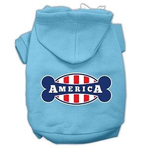 Bonely in America Screen Print Pet Hoodies Baby Blue Size XL (16)