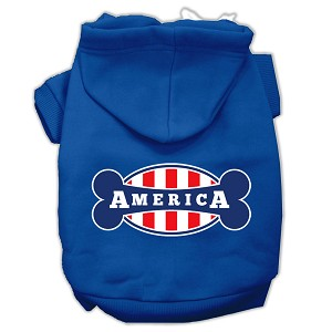 Bonely in America Screen Print Pet Hoodies Blue Size XXL (18)