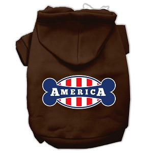 Bonely in America Screen Print Pet Hoodies Brown Size Lg (14)