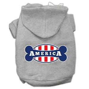 Bonely in America Screen Print Pet Hoodies Grey Size XS (8)
