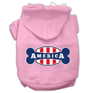 Bonely in America Screen Print Pet Hoodies Light Pink Size XL (16)