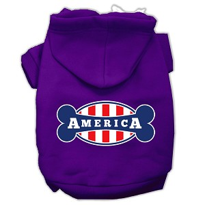 Bonely in America Screen Print Pet Hoodies Purple Size Sm (10)