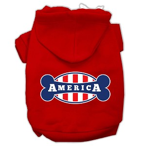 Bonely in America Screen Print Pet Hoodies Red Size Lg (14)